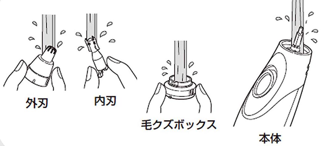 鼻毛カッターの水洗い